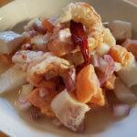 Ceviche aus Lachs, Kabeljau und Rotgarnelen